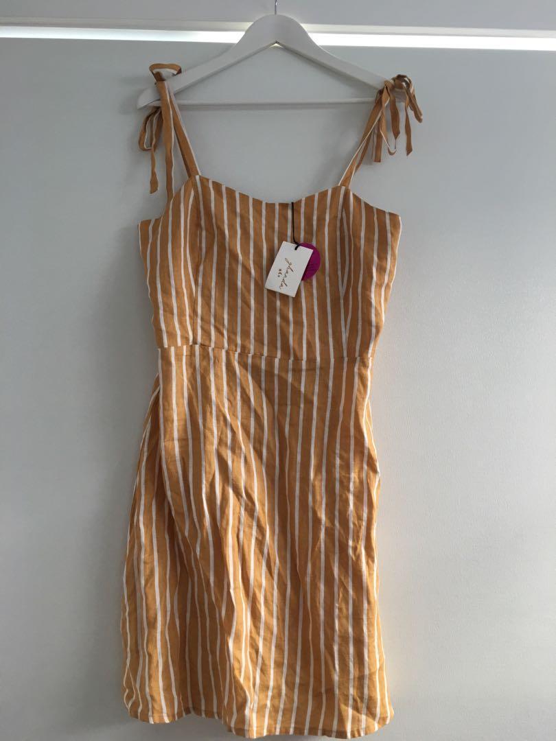 Ghanda Mustard Yellow Pinstripe Linen Dress Size L/14 BNWT