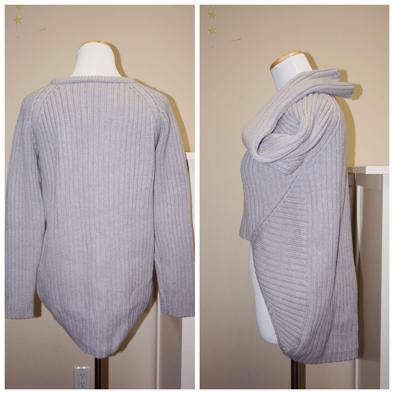 *Great Condition* OAK 100% Wool High-Low Sweater in Grey Women Size XS