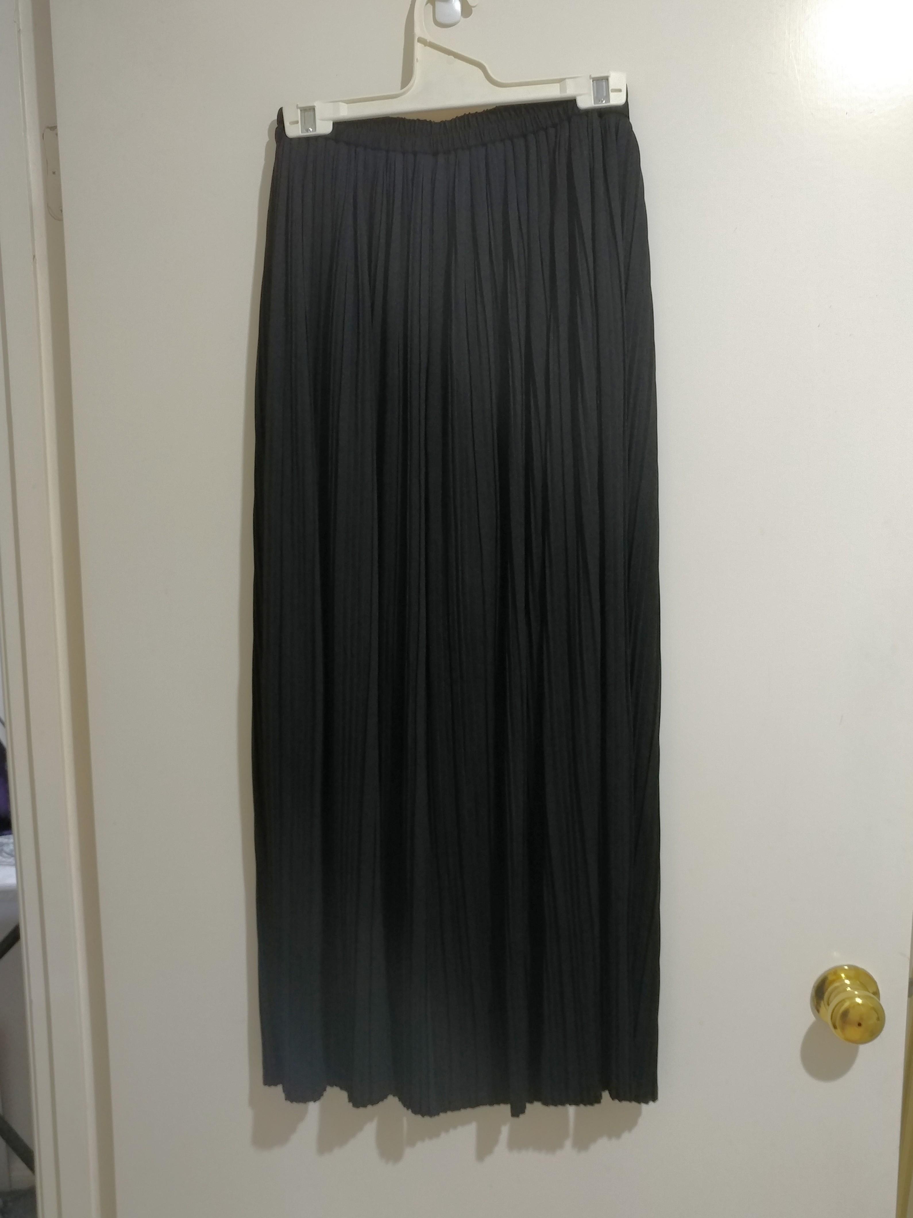 GU Japan Black Accordian Pleated Wide Leg Pants AU8-10