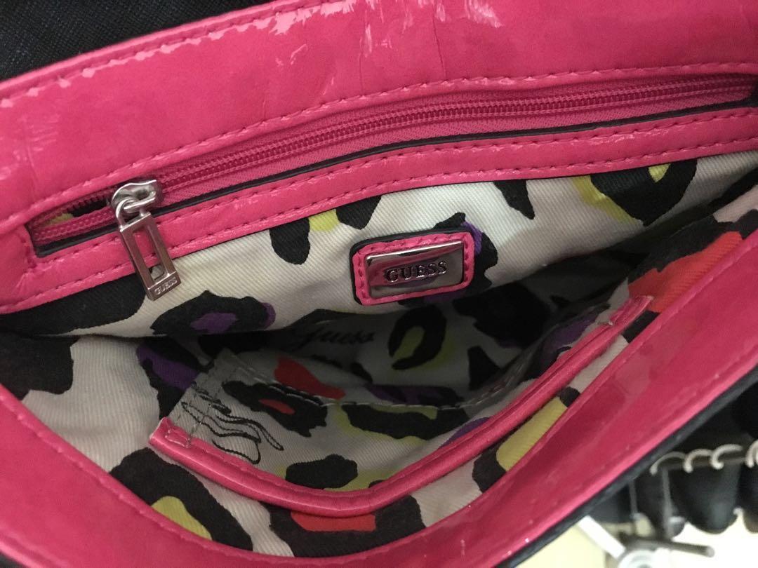 GUESS Crossbody Handbag Bag Purse + Keychain (Pink/Black/Green)