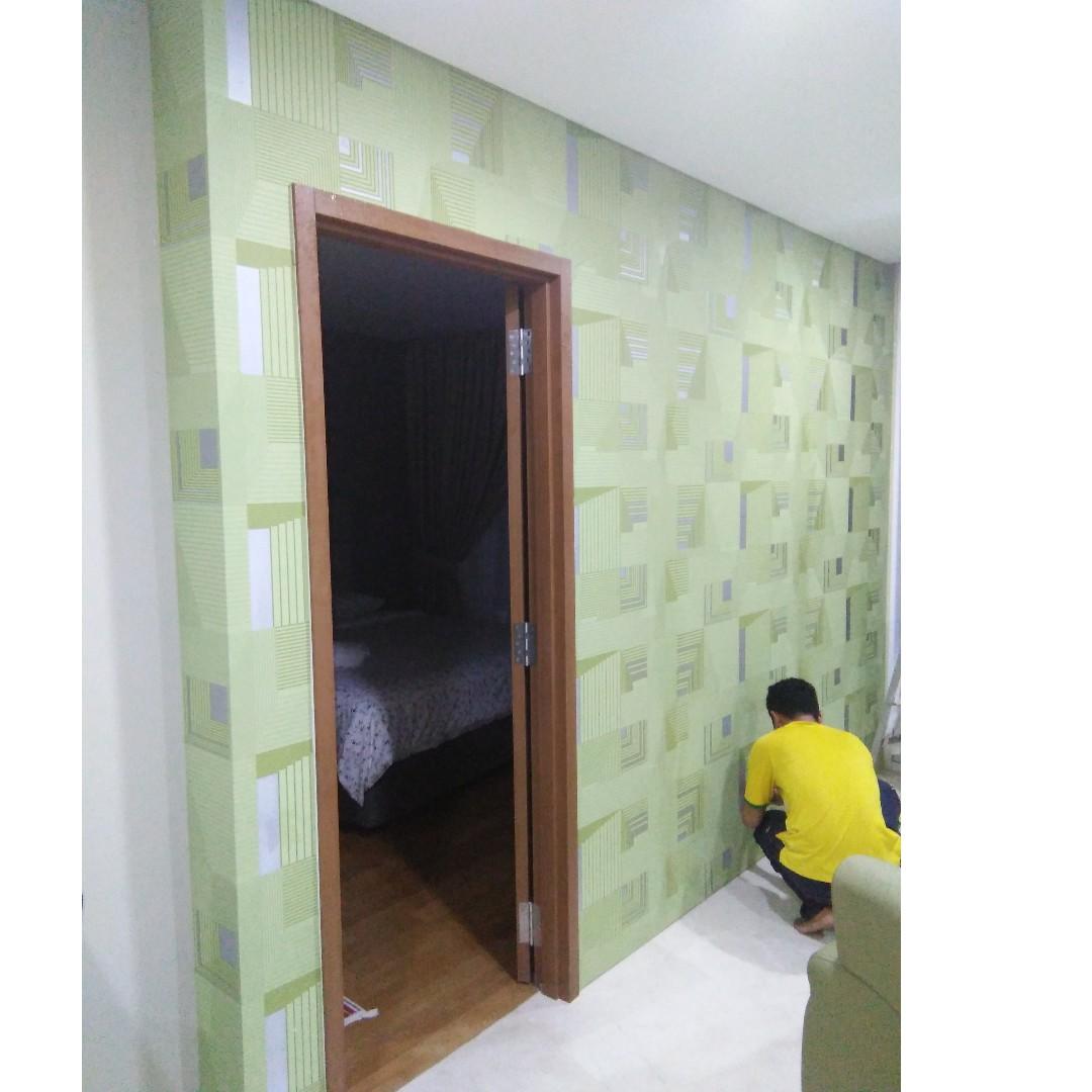 Khidmat Upah Pasang Wallpaper L Install Kertas Dinding Services