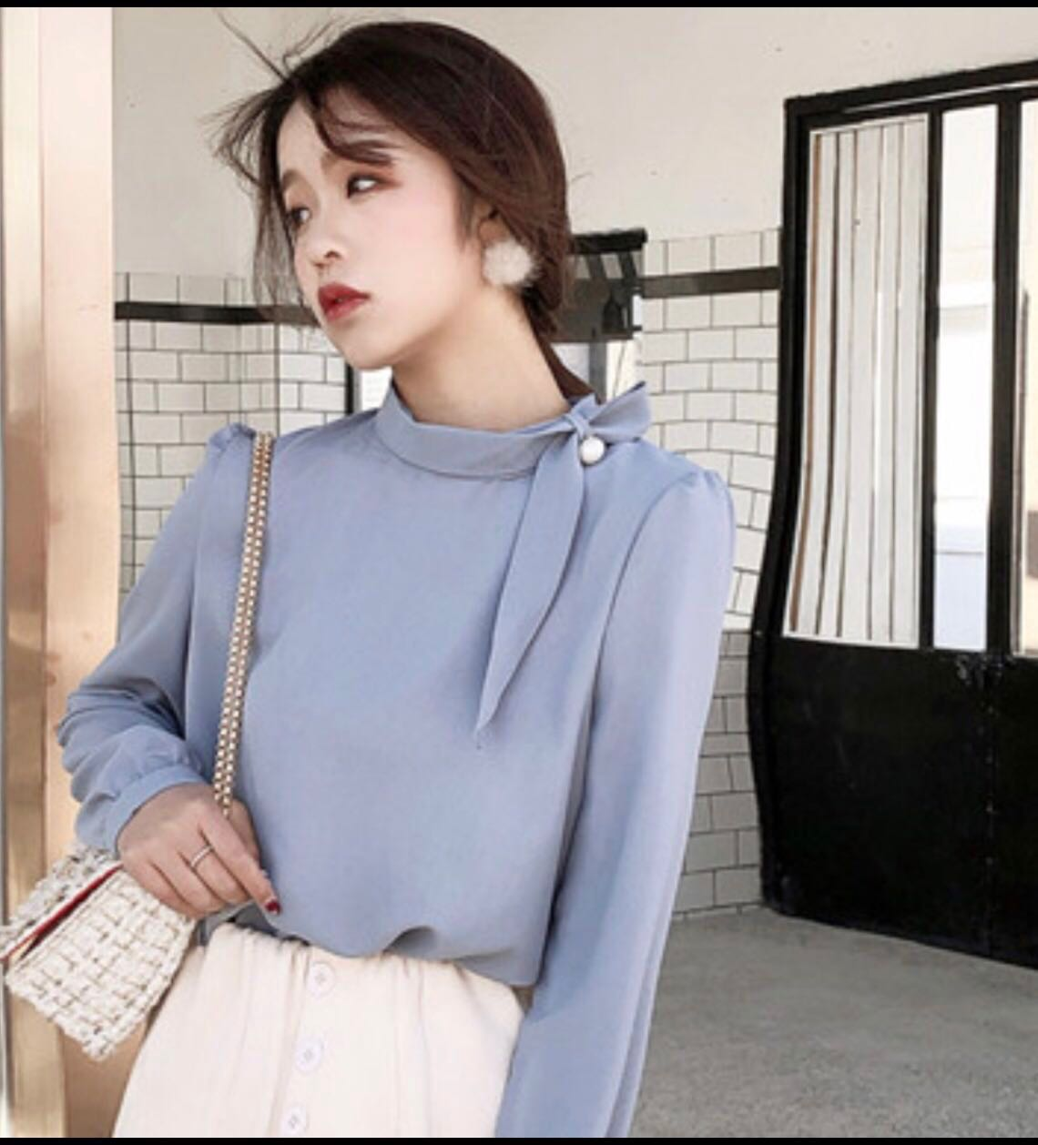 2140099396b3f4 Korean Long Sleeves Blouse, Women's Fashion, Clothes, Tops on Carousell