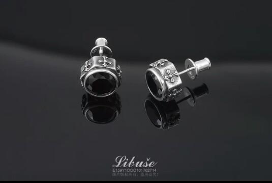 Libera 925 sterling silver jewelry men's men's black simple single tide male European and American handmade personality earrings earrings