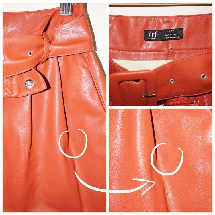 *Like New with Minor Flaw* ZARA Faux Leather Shorts with Belt in Red Women Size Small