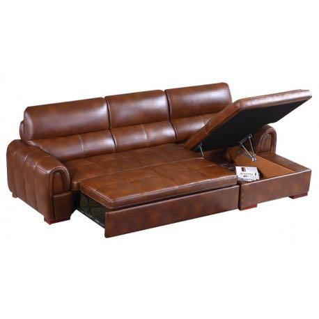 Magnificent L Shape Antique Brown Half Leather Storage Sofa Bed Download Free Architecture Designs Rallybritishbridgeorg