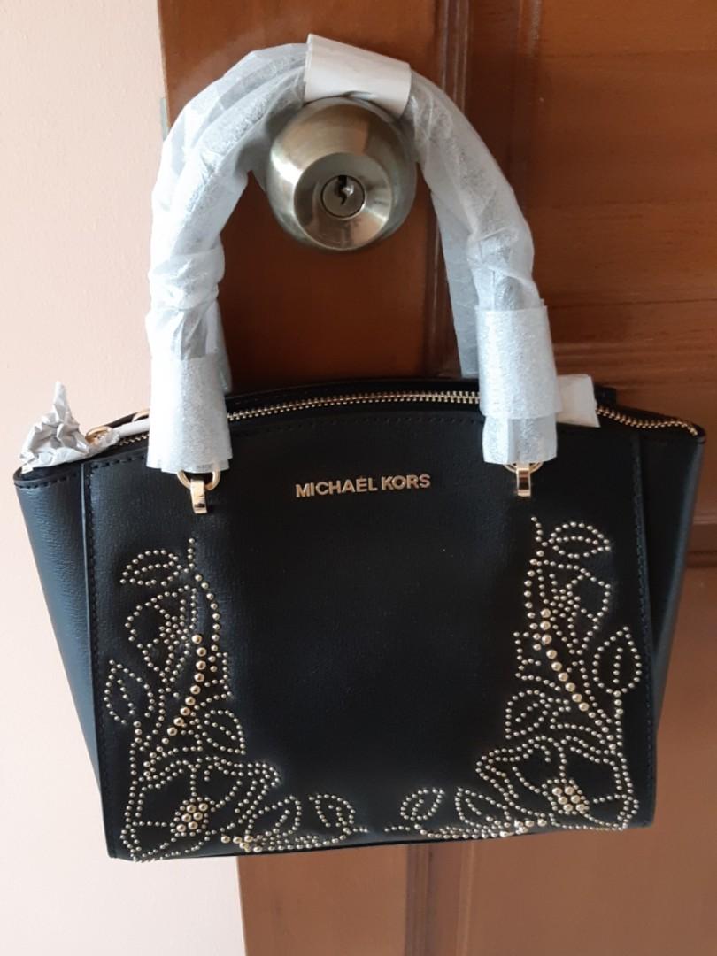 4b66168fe243 Michael Kors Ellis Black Small Gold Studded Convertible Satchel Leather Bag