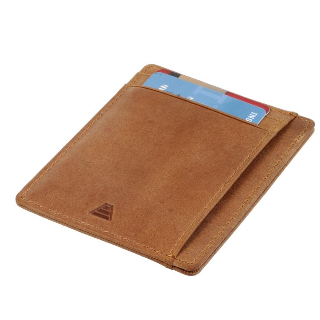 Minimalist Card Holder Slim Wallet RFID blocking - Andar Scout in Tan (Brown)