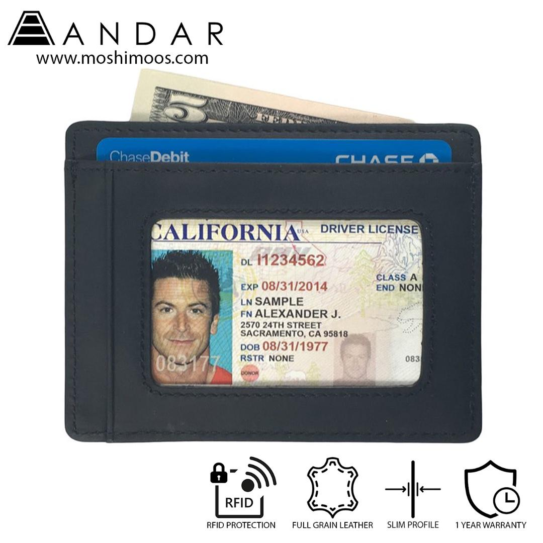Minimalist ID Card Holder Slim Wallet RFID blocking - Andar Freeman in Black