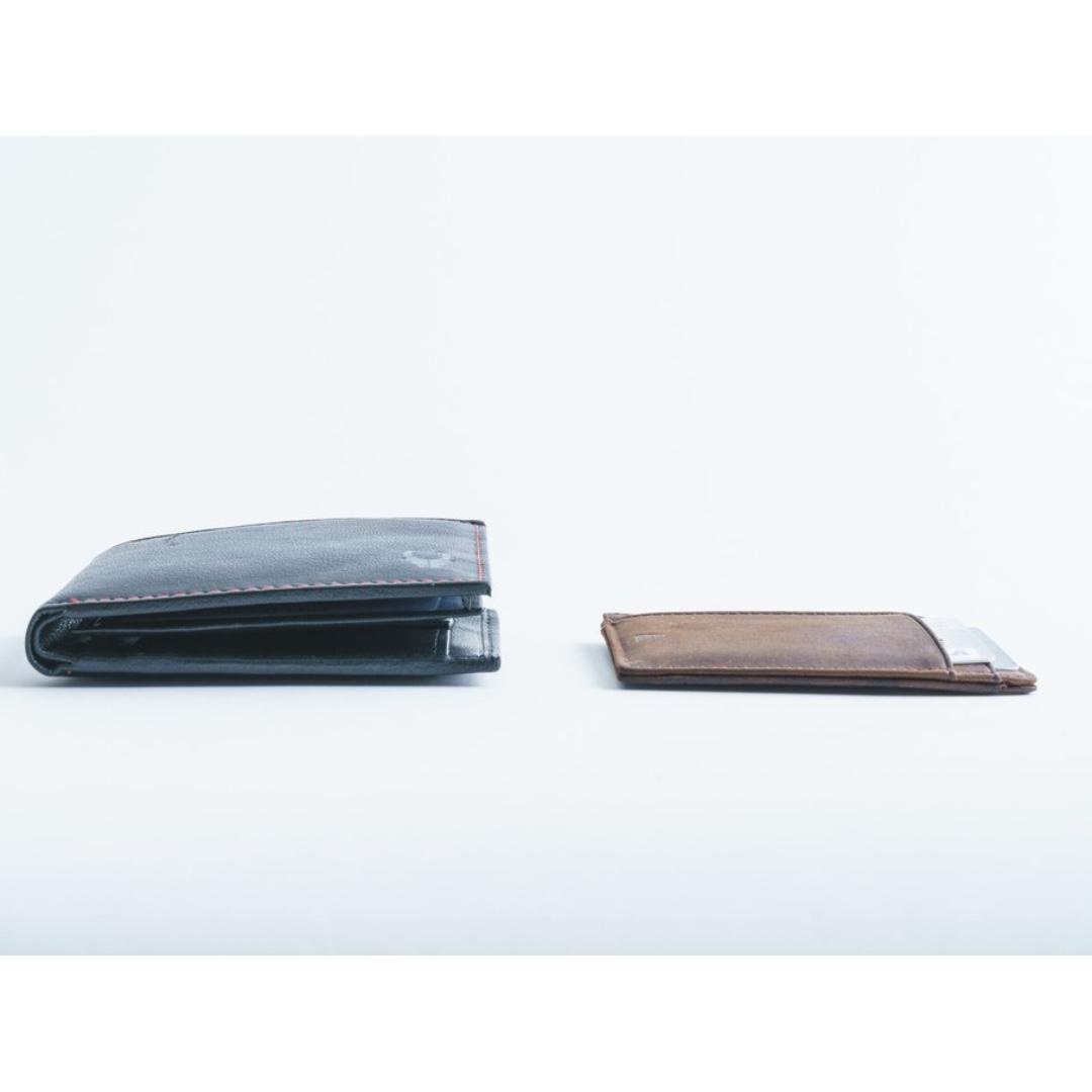 Minimalist ID Card Holder Slim Wallet RFID blocking - Andar Freeman in Tan (Brown)