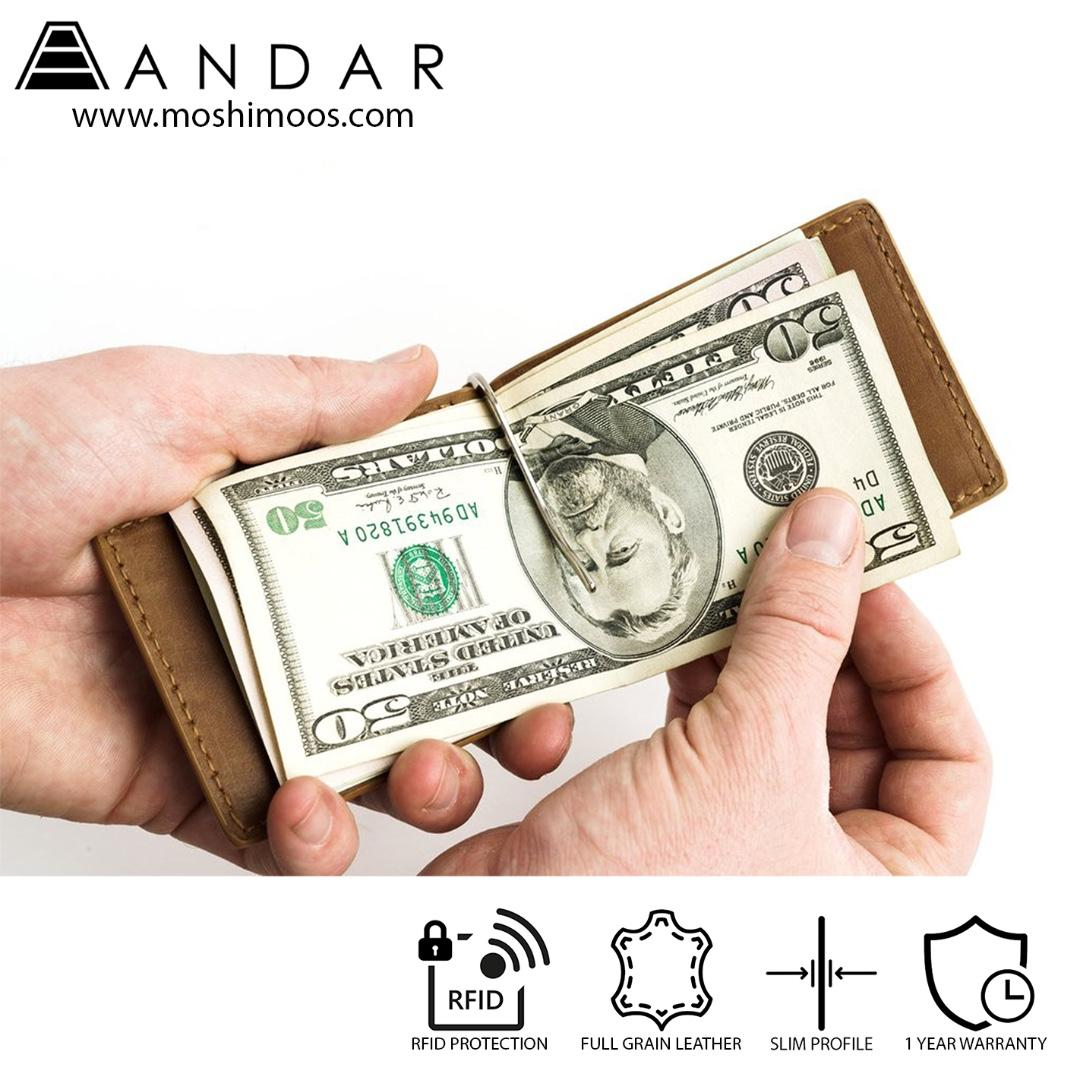 Minimalist Slim Wallet RFID blocking - Andar Baron in Black
