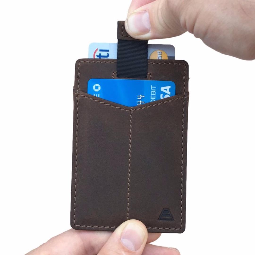 Minimalist Slim Wallet RFID blocking - Andar Monarch in Saddle Brown