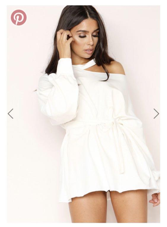 Missy Empire white oversized cut out jumper