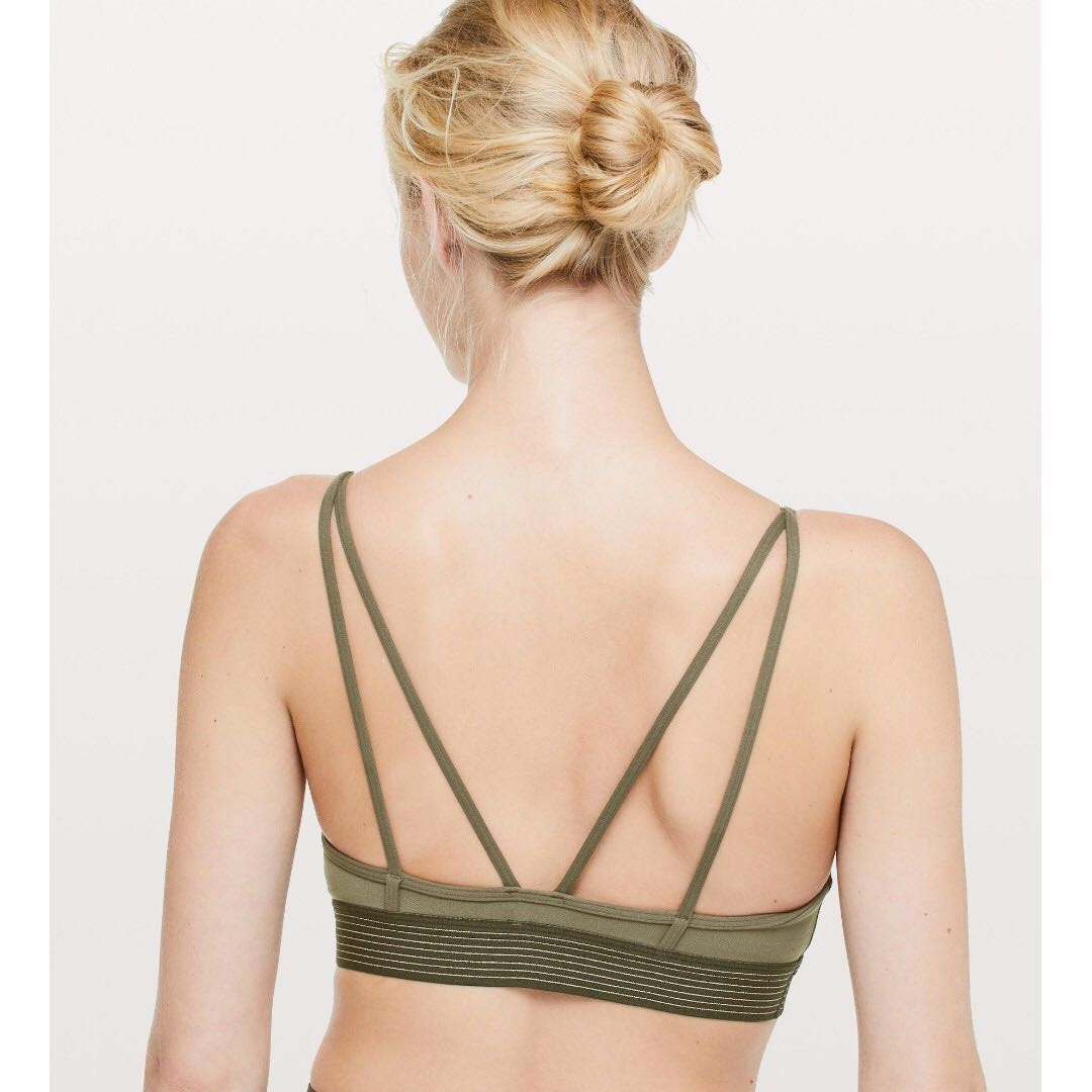 64d7477d8 New Lululemon Principal Dancer Golden Lining Bralette in Armory Size ...