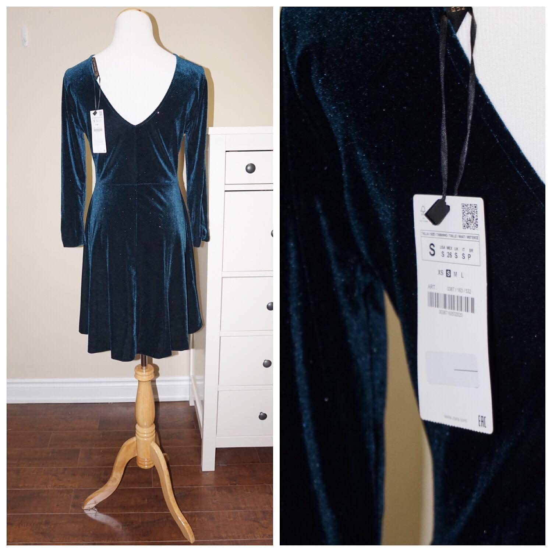 *NWT✨* ZARA Sparkle Velvet Dress in Green Women Size S