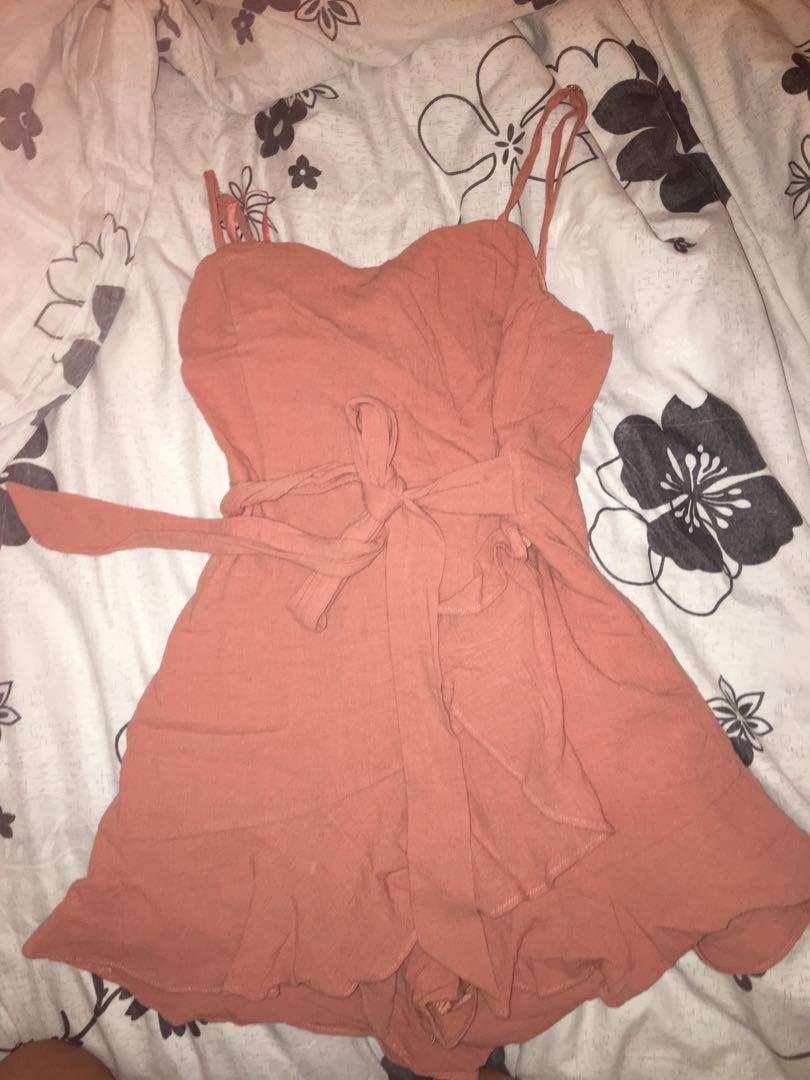 Peach play suit
