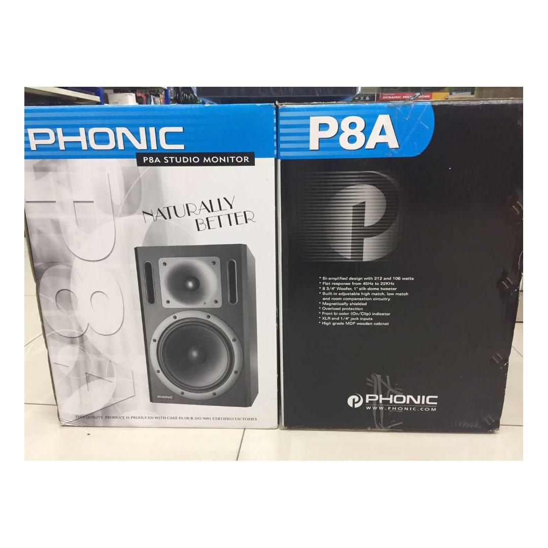 PHONIC P8A Studio Monitor + MX300USB 3-Channel DJ Mixer with USB Playback