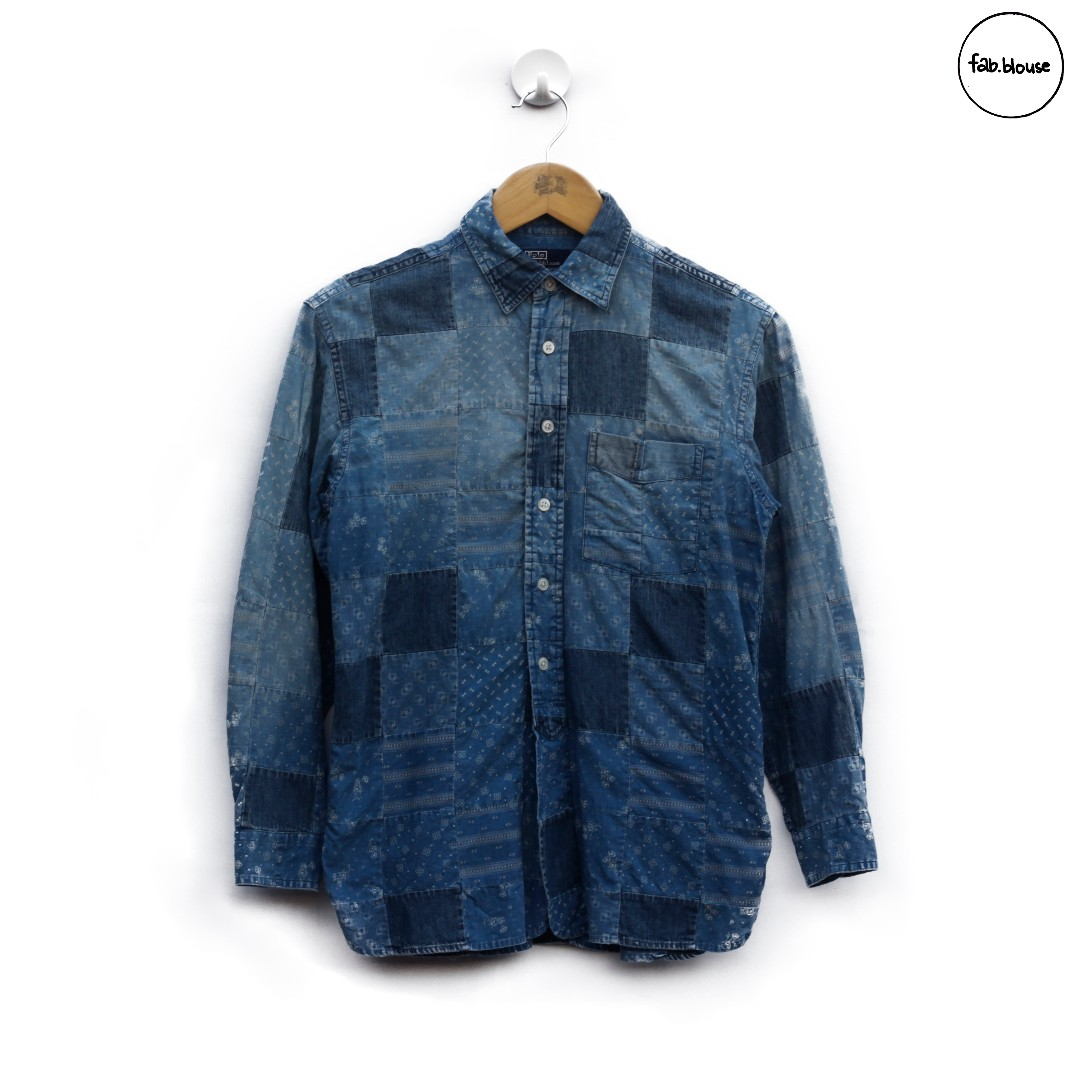 d0160244f Polo Ralph Lauren Denim Patchwork Shirt, Men's Fashion, Men's ...