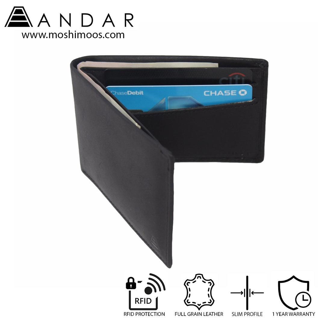 Minimalist Slim Wallet RFID blocking - Andar Ambassador in Black