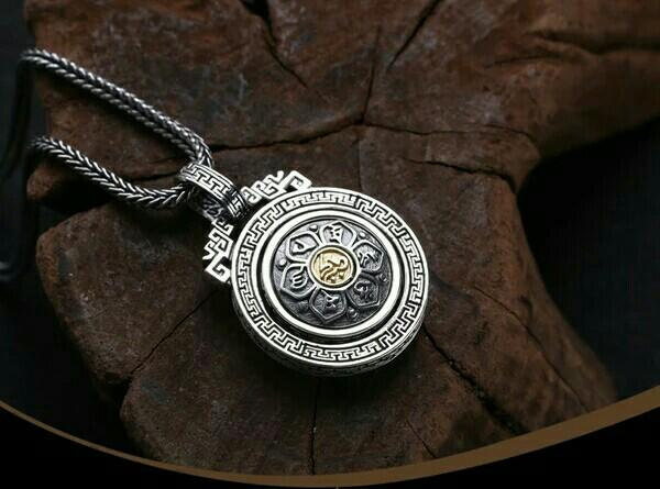 Rich deer six-word mantra lotus pendant men and women sterling silver s925 retro silver medal pendant rotating round Thai silver