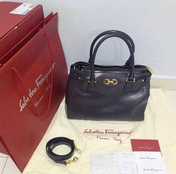fc91467d82 Salvatore Ferragamo Batik   Beky Bag Medium (Plum  Purple)