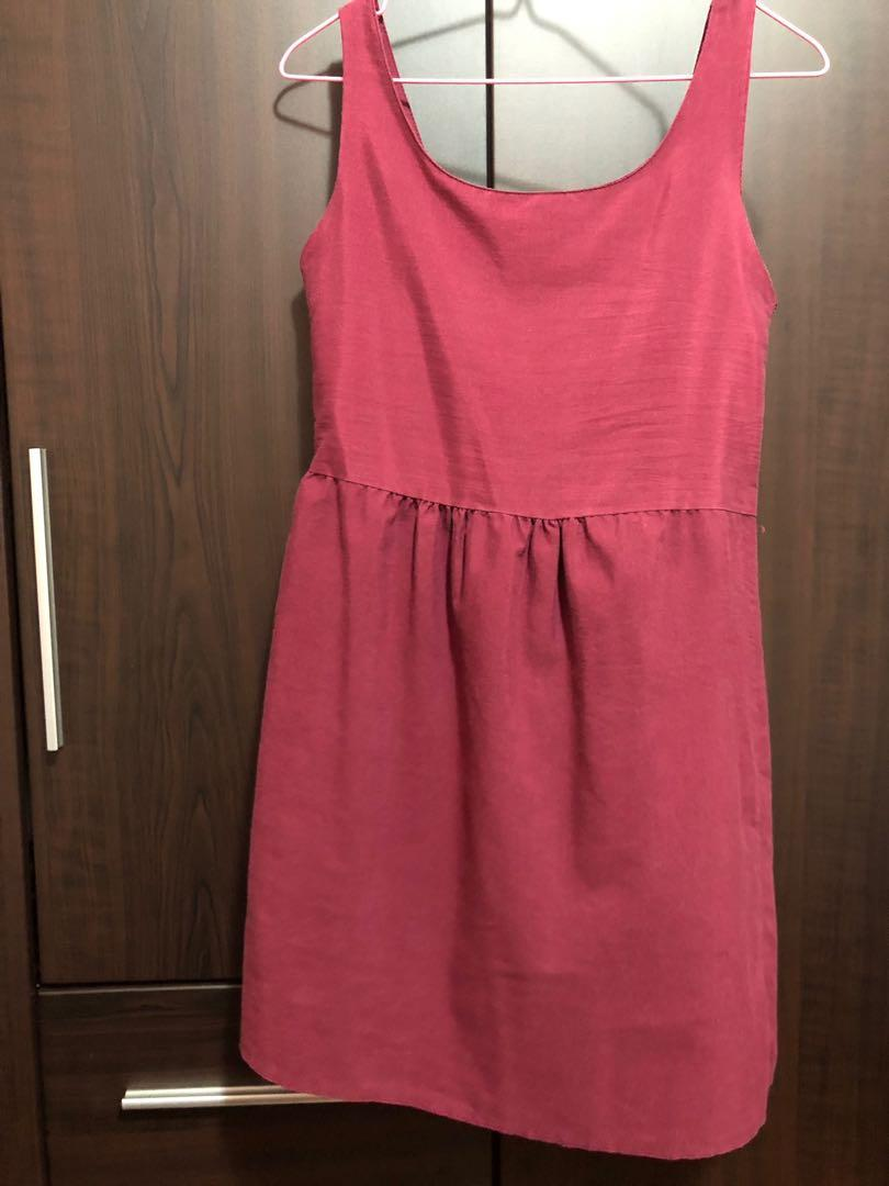 Simple maroon girl next door dress