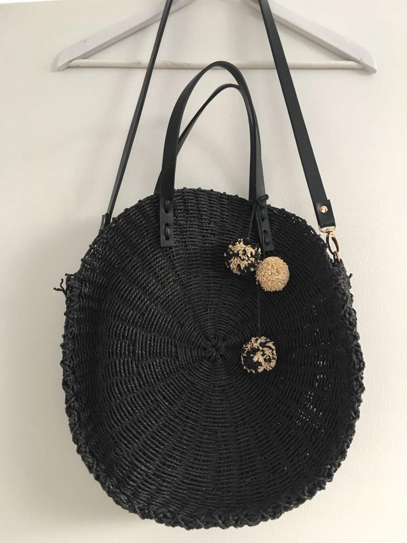 Sportsgirl Black Round Cane/Wicker Handbag with long strap and gold hardware