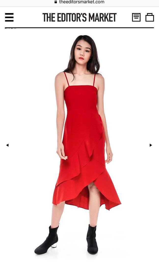 TEM Fluffy red dress size M, Women's Fashion,