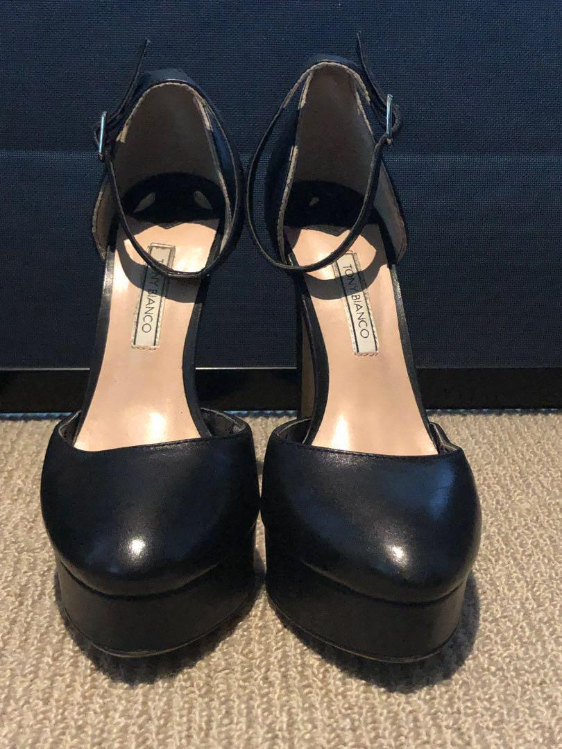 TONY BIANCO BLACK PLATFORM STILETTOS WITH ANKLE STRAP SIZE 6