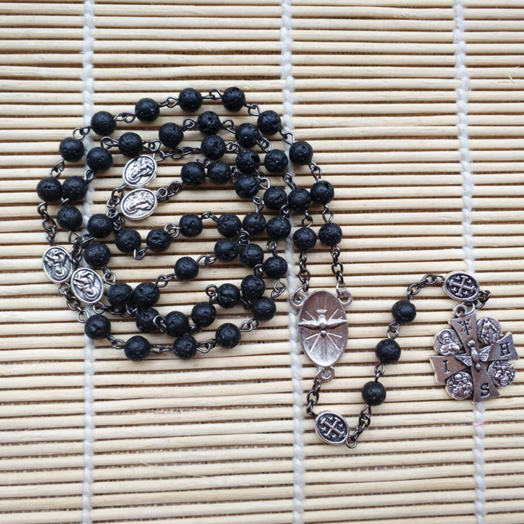 Volcanic Stone Christ Jesus Four-way cross Necklace Catholic Rosary rose through five-terminal rosary prayer