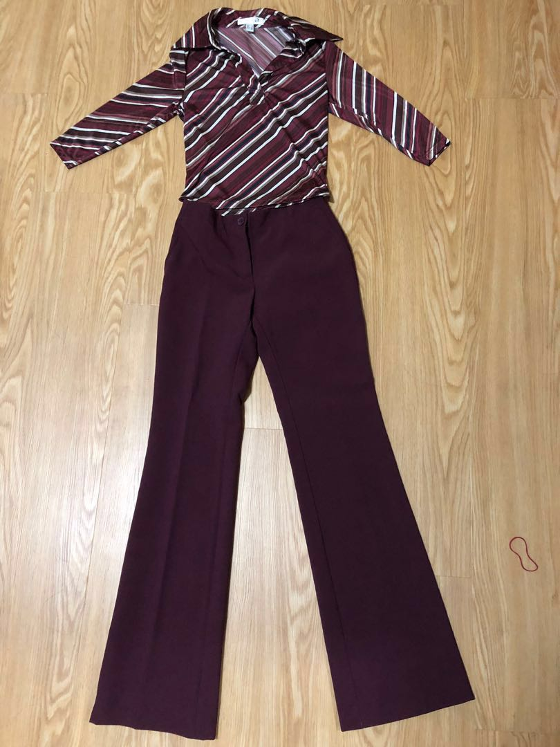 78d938b348 WEEKEND PROMO + TRACKED MAIL FREE! Maroon shirt and Mango pants Work combo,  Women's Fashion, Clothes, Pants, Jeans & Shorts on Carousell
