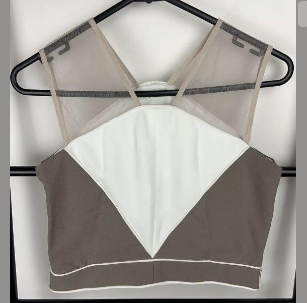 White brown S/M colour block soft basic classic mesh women crop tank top shirt