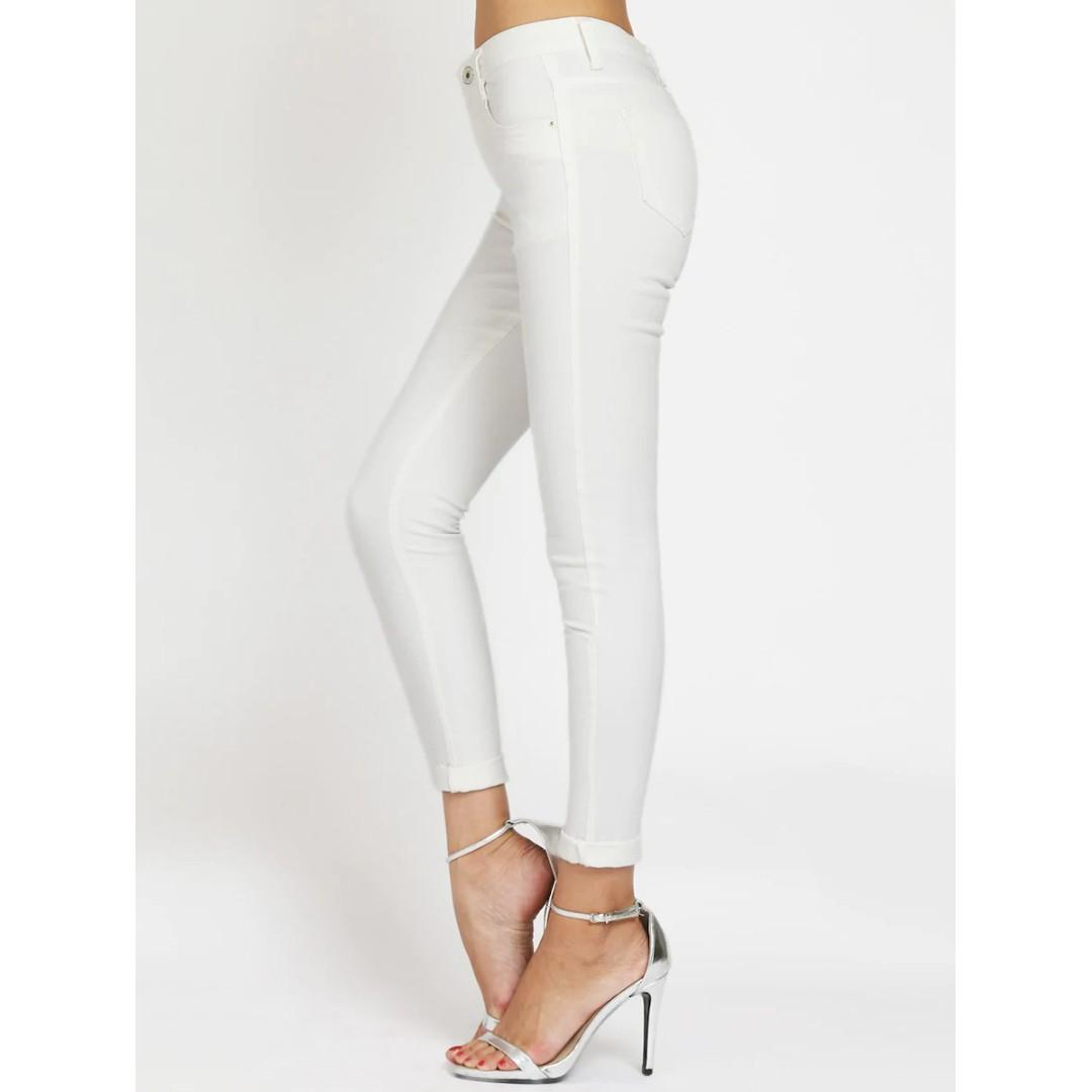 White Cuffed Skinny Ankle Jeans