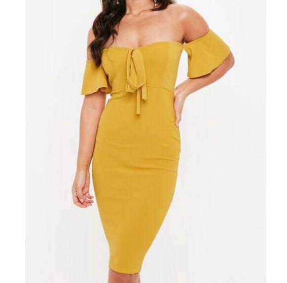 Yellow Mustard Off Shoulder Tie Front Cocktail Dress