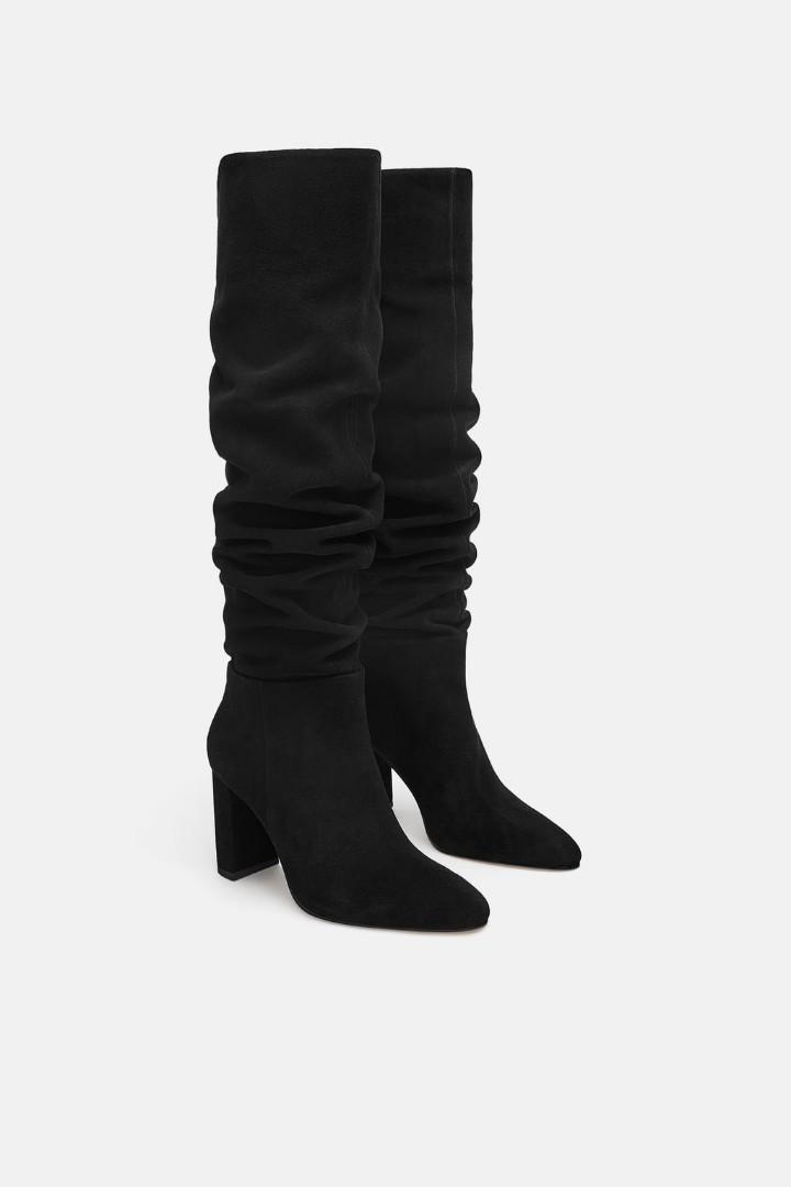 Zara high heeled suede boots