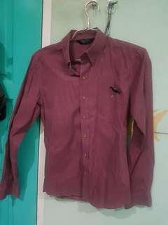 long sleeve shirt burgundy colour