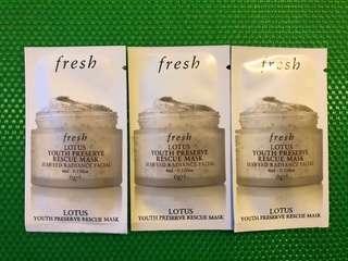 Fresh LOTUS YOUTH PRESERVE RESCUE MASK 睡蓮青春活膚速效面膜 4ml x 3包