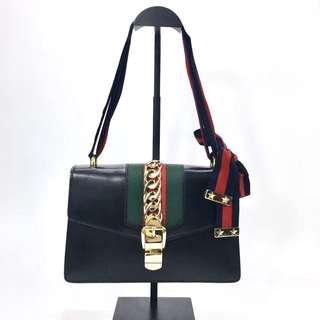 Authentic Pre-loved Gucci Sylvie Medium Chain-Embellished Leather Shoulder Bag