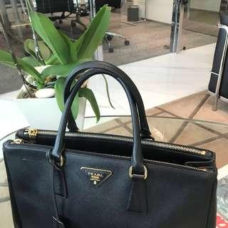 Authentic Pre-loved Prada Saffiano Double Zip Lux Large Tote in Black GHW