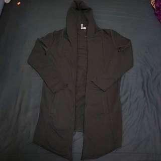 H&M 長版外套 無拉鍊&扣子 黑 S $399