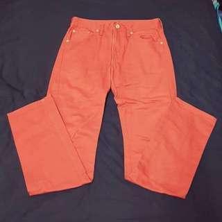 GU 直筒褲 31 橘紅 $100