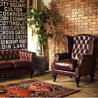 loft industrial vintage leather wing chair
