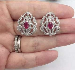 White topaz with Ruby earrings