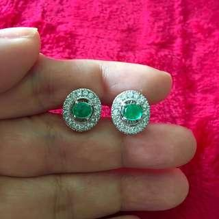 GENUINE cabochon emerald earrings w white zircon (NOT Cz)