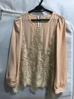 Lace patch blouse