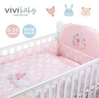 全新 台灣ViVibaby夢幻森林嬰兒寢具套裝