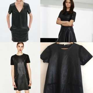Auth💯 Zara Leather Dress with pockets ( retails at 1,700)