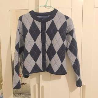 🚚 韓國🇰🇷菱格紋保暖羊毛外套