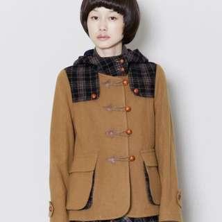 🇯🇵FRAPBOIS メルトン / ダッフルコート 格紋 駝色 羊毛 毛呢夾克連帽大衣 日系森林系 牛角扣