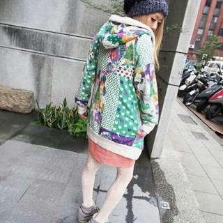 🚚 🇯🇵ScoLar 古著vintage 世界我最繽紛 插畫 澀谷 森林系 百花齊放 花花 貓咪 點點 幾何 絨毛 球球 綠 紫 連帽外套