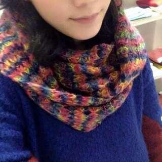 🚚 🇯🇵ScoLar 古著vintage 五彩繽紛 彩色 彩虹 針織 毛線 毛毛 圍脖 圍巾